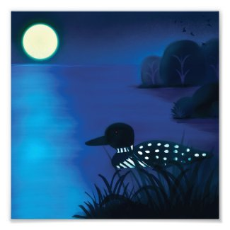 Loon Under the Moon Photo Print
