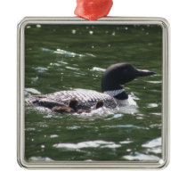 Loon With Babies 2 Metal Ornament