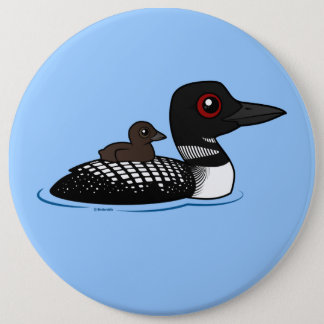 Loon with chick button