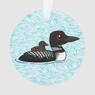 Loon with chick ornament