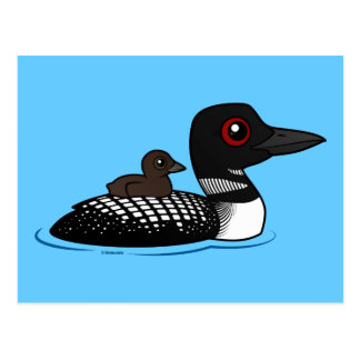 Loon with chick postcard