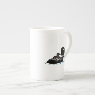 Loon with chick porcelain mugs