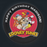 "LOONEY TUNES™ Character Group | Birthday Paper Plate<br><div class=""desc"">All your favorite Classic Looney Tunes characters want to help you celebrate. Bugz,  Tweety,  TAZ,  Porky,  Sylvester,  Yosemite Sam,  Road Runner,  Daffy,  Yosemite Sam &amp; Elmer Fudd are all featured in this design.</div>"