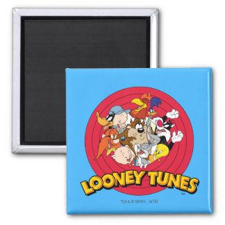 Looney Tunes Character Logo 2 Inch Square Magnet