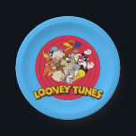 "LOONEY TUNES™ Character Logo Paper Plate<br><div class=""desc"">This Classic Looney Tunes logo features all your favorite characters. Bugz,  Tweety,  TAZ,  Porky,  Sylvester,  Yosemite Sam,  Road Runner,  Daffy,  Yosemite Sam &amp; Elmer Fudd.</div>"