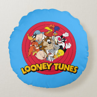 Looney Tunes Character Logo Round Pillow