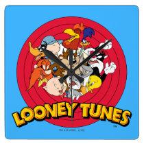 LOONEY TUNES™ Character Logo Square Wall Clock