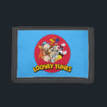 """LOONEY TUNES™ Character Logo Tri-fold Wallet<br><div class=""""desc"""">This Classic Looney Tunes logo features all your favorite characters. Bugz,  Tweety,  TAZ,  Porky,  Sylvester,  Yosemite Sam,  Road Runner,  Daffy,  Yosemite Sam &amp; Elmer Fudd.</div>"""