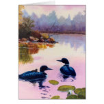 Loons At Twilight Blank Card