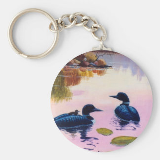 Loons At Twilight Keychain