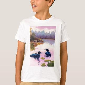 Loons At Twilight Kids Tshirt