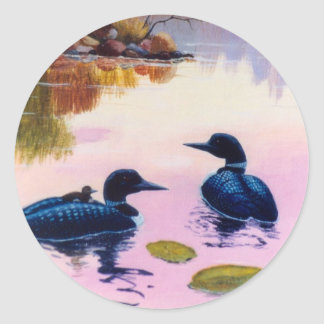 Loons At Twilight Sticker