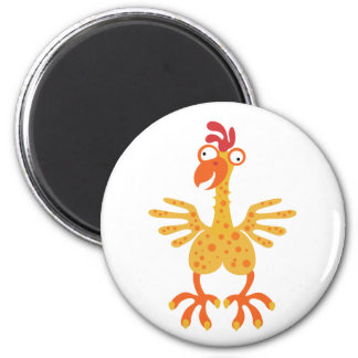 Loony Chicken 2 Inch Round Magnet