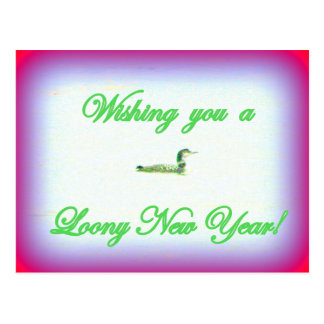 Loony new year postcard