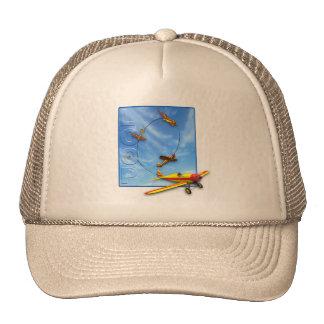 Loop Aerobatic maneuver with Airplane Trucker Hat