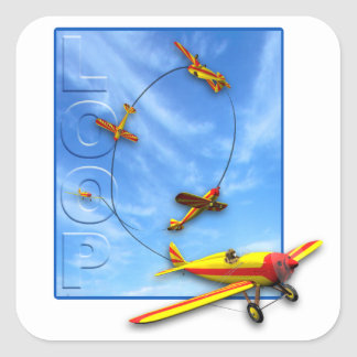 Loop Aerobatic maneuver with Airplane Square Sticker
