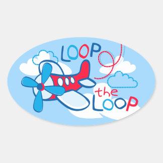 Loop the loop oval sticker