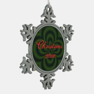 Loopedy Doo Kaleidoscope Mandala Snowflake Pewter Christmas Ornament