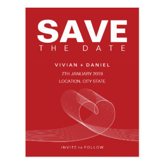 Loopy Love Lines White Save The Date Postcard