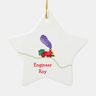 Loose Caboose Clickety Clack Train Double-Sided Star Ceramic Christmas Ornament