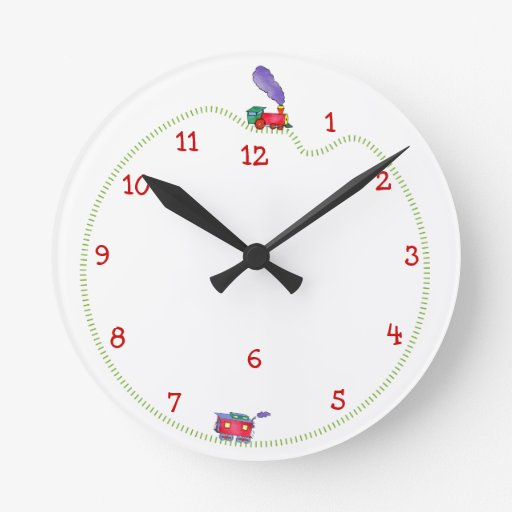 Loose Caboose Clickety Clack Train Time Round Clock