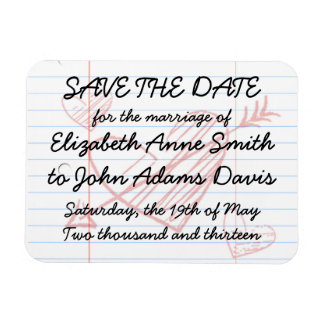 Loose Leaf Notebook Paper Save the Date Magnet