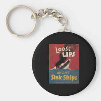 Loose Lips Might Sink Ships Keychain