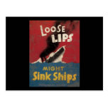 Loose Lips Might Sink Ships Postcard
