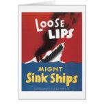 Loose Lips Might Sink Ships Vintage War Poster Card