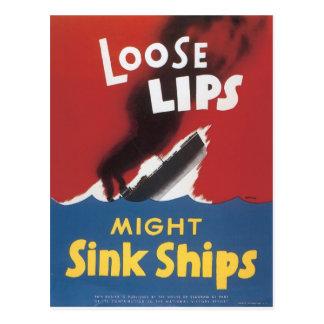 Loose Lips Sink Ships Postcard