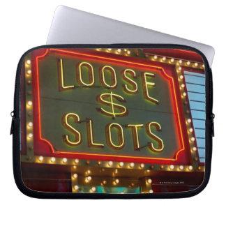 Loose slots sign on casino, Las Vegas, Nevada Computer Sleeve
