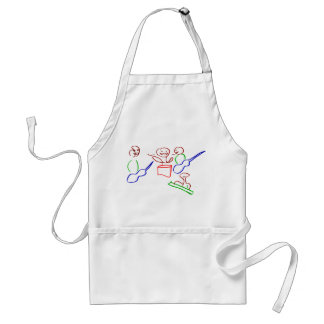 Loose stick figure musician band adult apron