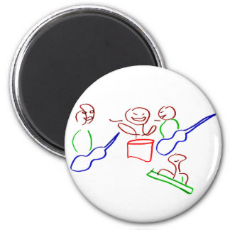Loose stick figure musician band magnet
