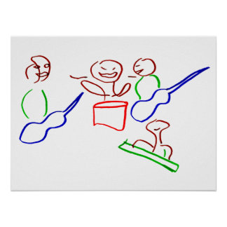 Loose stick figure musician band print