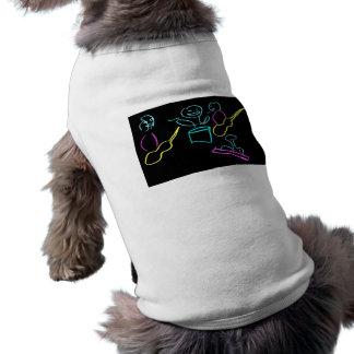 Loose stick figures black background dog shirt