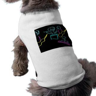 Loose stick figures black background dog t-shirt