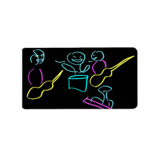Loose stick figures black background personalized address label