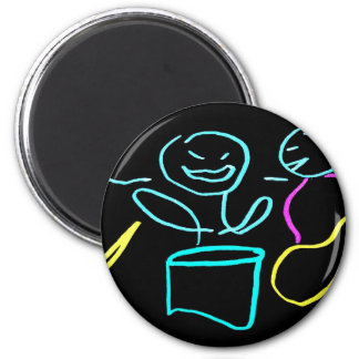 Loose stick figures black background fridge magnets