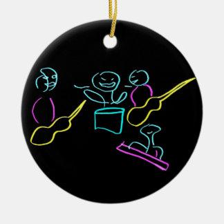 Loose stick figures black background ornament