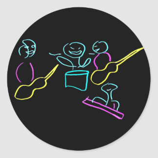 Loose stick figures black background classic round sticker