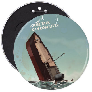 Loose Talk Cost Lives WW2 Poster Pinback Button