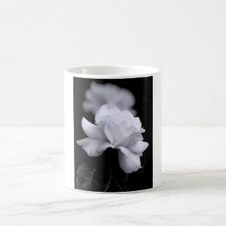 Loose White Leaf Rose On Black Background Coffee Mug