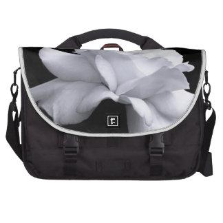 Loose White Leaf Rose On Black Background Laptop Messenger Bag