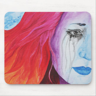 Loosing Color Girl Crying Surreal Rainbow Goth Art Mouse Pad