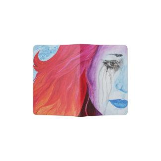 Loosing Color Girl Crying Surreal Rainbow Goth Art Passport Holder