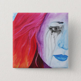 Loosing Color Surreal Rainbow Woman Portrait Art Button