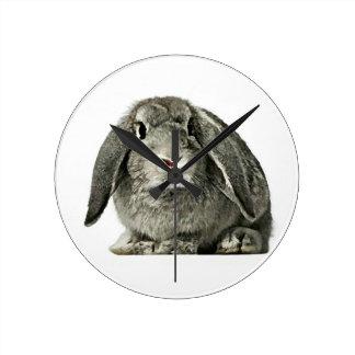 Lop Bunny Round Clock