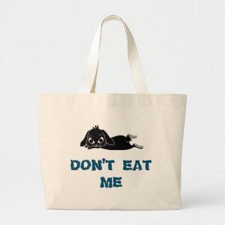 Lop ear black rabbit large tote bag