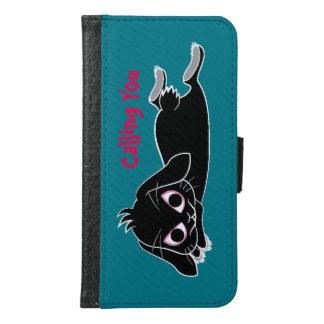Lop ear black rabbit wallet phone case for samsung galaxy s6