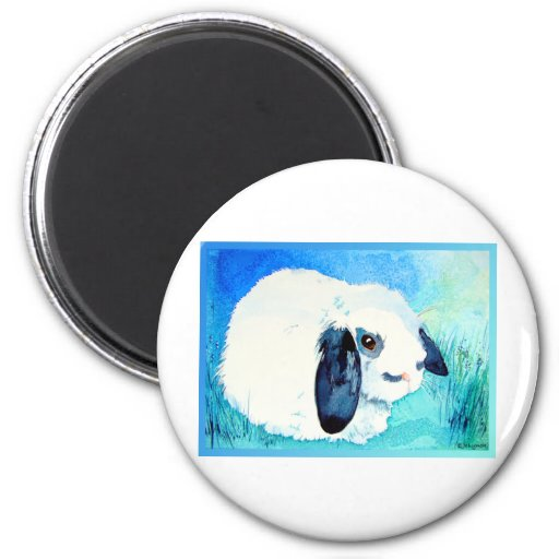 Lop Eared Bunny 2 Inch Round Magnet